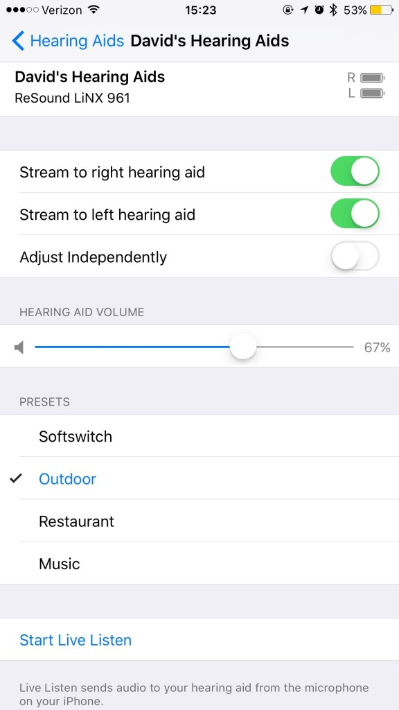 Hearing Aid Detailed Settings
